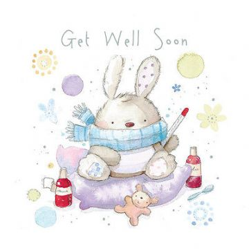 "GET WELL SOON CARD ""BUNNY DESIGN"" SQUARE SIZE 4.75 X 4.75 INCH EFG110"